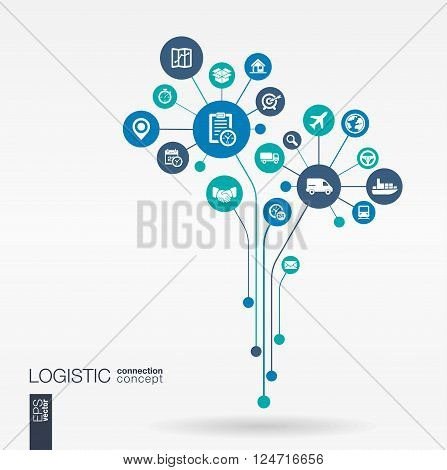 Abstract Delivery background - connected circles, integrated flat icons. Growth flower idea with logistic, service, shipping, distribution, transport, market concepts. Vector interactive illustration