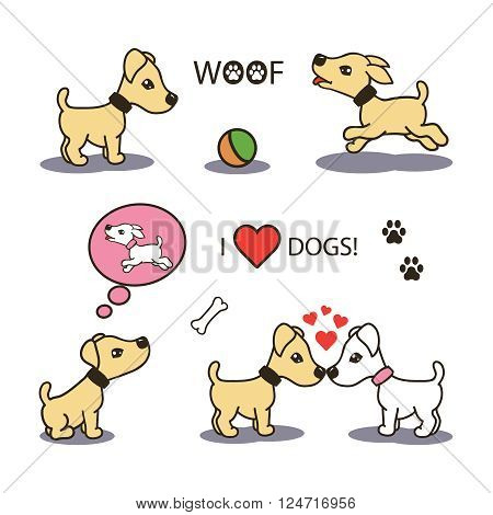 set collection of cute cartoon icons of a happy playful puppy baby dogs. isolated with shadows and text on white