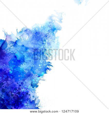 Blue watercolor blot