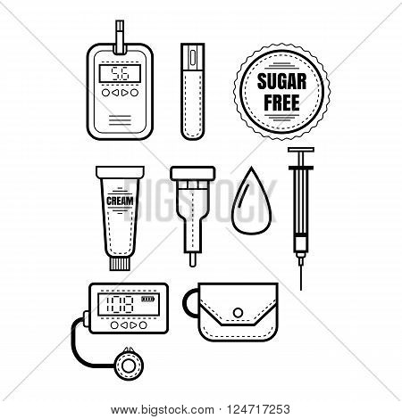 Diabetes. Set of linear icons, objects. Glucometer, insulin and other medical items. Vector illustration