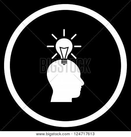 Genius Bulb vector icon. Image style is a flat icon symbol inside a circle, white color, black background.