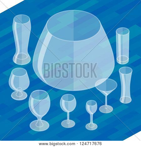 Glassware isometric flat icons set. Collection empty glassware simple flat pictograms. Set of transparent glasses goblets, vector icon. Cocktail glasses collection.