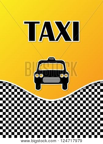 Taxi brochure template design with cab silhouette and text