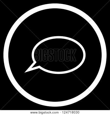 Hint Cloud vector icon. Image style is a flat icon symbol inside a circle, white color, black background.