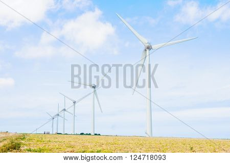 Wind turbines and landscape in Seine-Maritime Normandy France