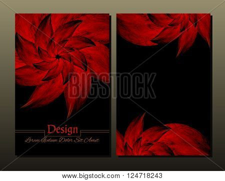 Set of vector design templates. Corporate Identity kit or business kit with artistic abstract colorful design for your business. Vector abstract booklet cover. Beauty brochure. Red and black