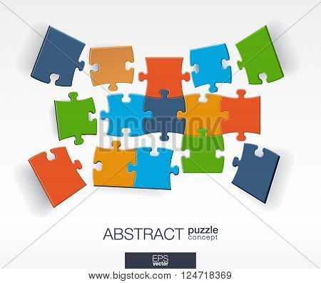 Abstract background with connected color puzzles, integrated elements. Infographic concept with mosaic pieces in perspective. Vector interactive illustration.