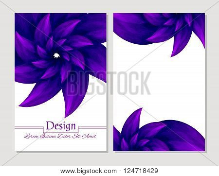 Set of vector design templates.Corporate Identity kit or business kit with artistic abstract colorful design for your business. Vector abstract booklet cover. Beauty brochure. Violet and white