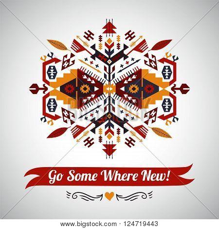 Colorful decorative element on native ethnic style. go somewhere new