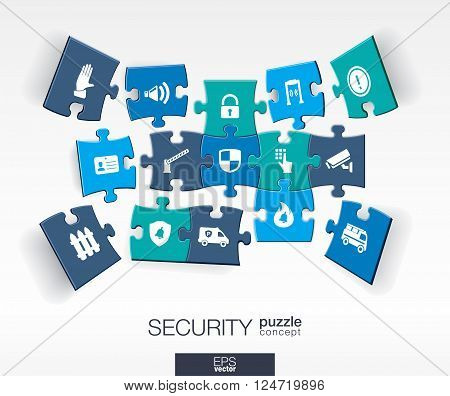 Abstract Security background with connected color puzzles, integrated flat icons. 3d infographic concept with technology, guard, protection, safety, control pieces in perspective. Vector illustration