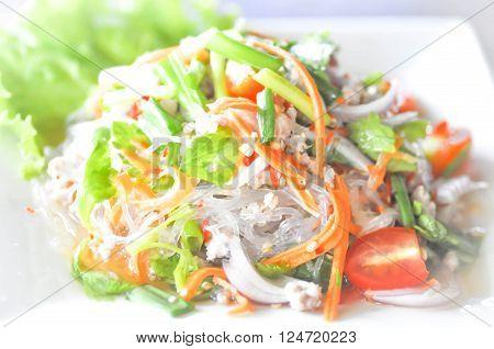 glass noodle spicy salad , Thai food,spicy salad