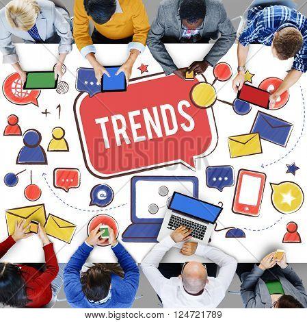 Trends Social Media Update Online Internet Concept