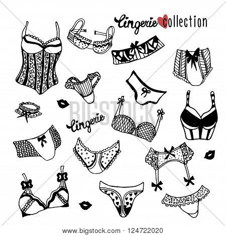 Collection of doodle women lingerie isolated on white