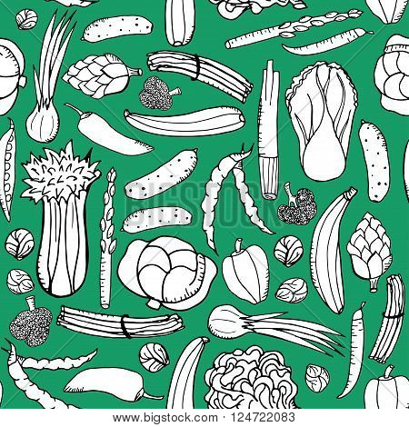 Seamless pattern with hand drawn green vegetables on green background. Texture green outline vegetables. Doodle pattern vegetables