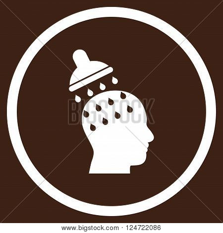 Brain Washing vector icon. Image style is a flat icon symbol inside a circle, white color, brown background.