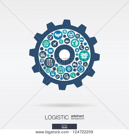 Color circles, icons in a cogwheel shape for distribution and delivery service, shipping, logistic, transport, market mechanism concepts. Abstract background with connected objects. Vector illustration.
