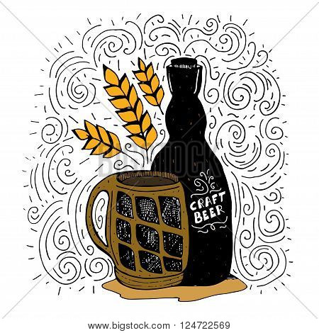 Hand drawn vector beer poster with bottle of craft beer and glass. Template for menu beer festival and other projects
