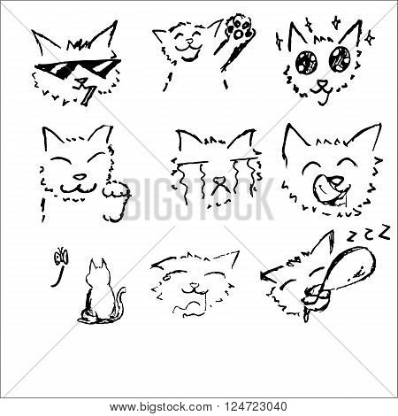 Cat drawing sketch black and white in Japanese comic style 6 emotion set with happy smoking