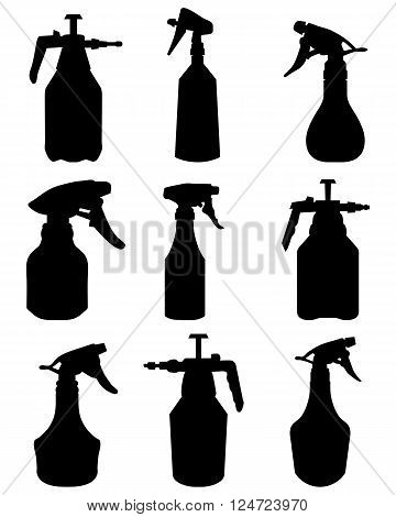 Black silhouettes of sprayer on a white background, vector