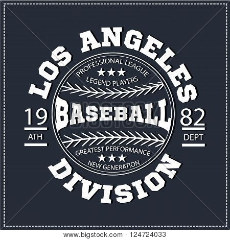 College Los angeles varsity division sport baseball america typography, t-shirt graphics. White color version. Very easy to use for apparel.