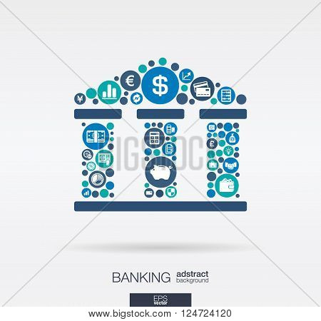 Color circles, flat icons in a bank building shape, banking, money, card, business and  finance concept