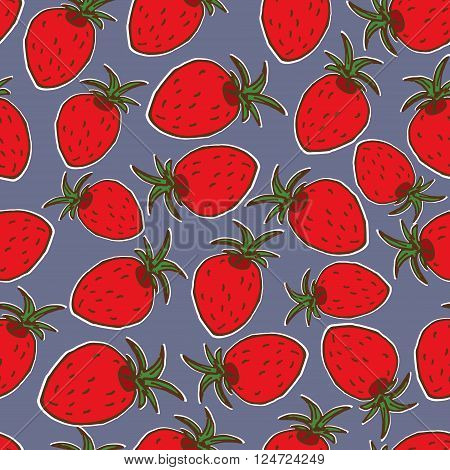Summer fruit illustration. Seamless vector background with red strawberries. Cute strawberry pattern.