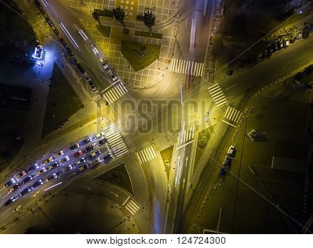 Aerial View Of Cross Road In Thessaloniki At Night, Greece.