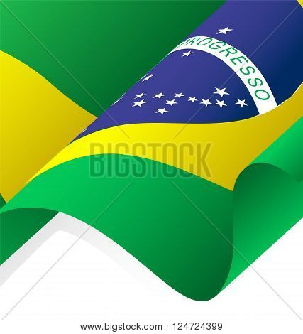 Waving Brazil Flag Vector and Clipping Mask