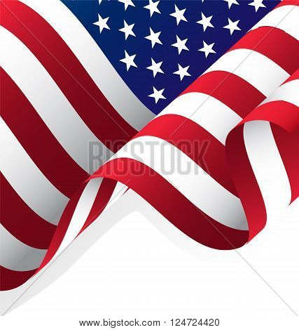 Waving American Flag Vector and Clipping Mask