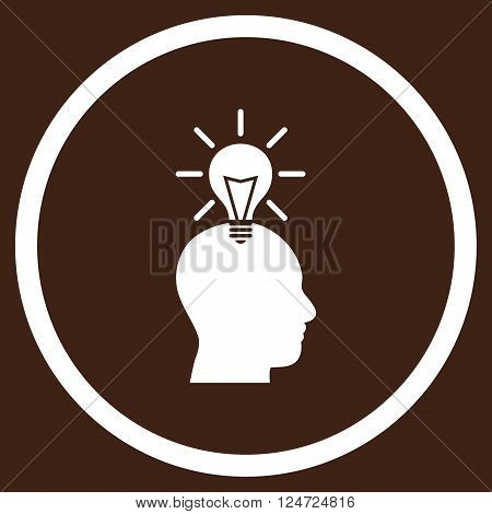Genius Bulb vector icon. Image style is a flat icon symbol inside a circle, white color, brown background.