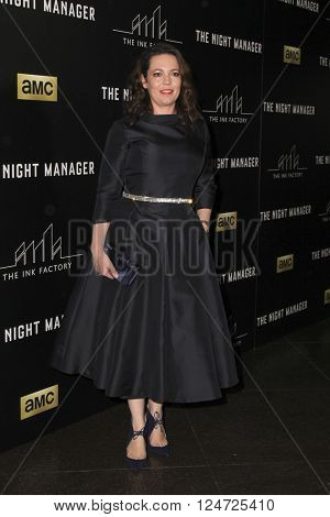 LOS ANGELES - APR 5:  Olivia Coleman at the The Night Manager AMC Premiere Screening at the Directors Guild of America on April 5, 2016 in Los Angeles, CA