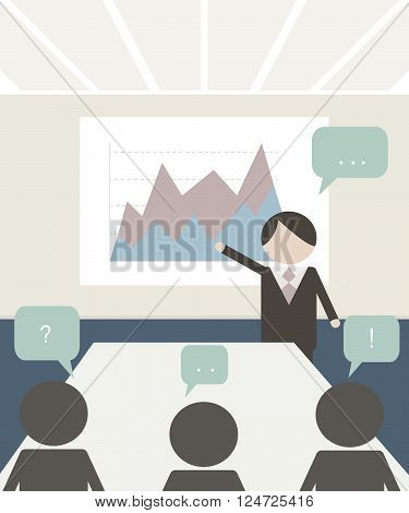 Conference room illustration. People at the conference. Business meeting template