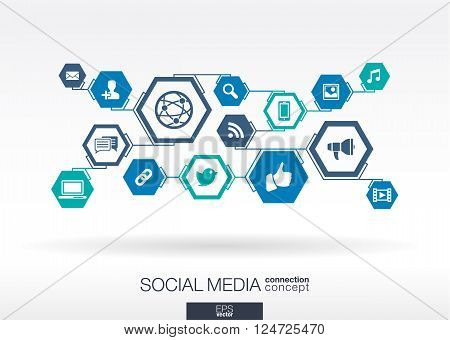 Social media network. Hexagon abstract background with lines, polygons, and integrate flat icon