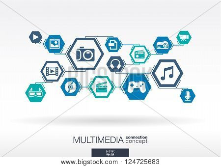 Multimedia network. Hexagon abstract background with lines, polygons, and integrate flat icons.