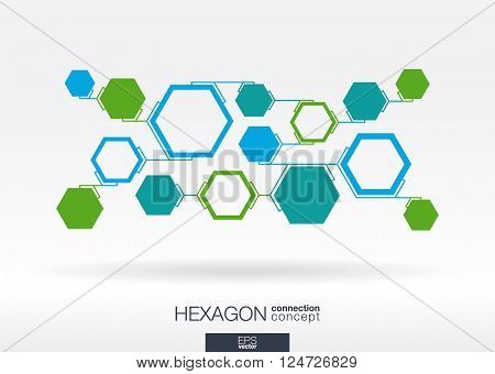 Abstract hexagon background with integrated polygons. Vector interactive illustration.
