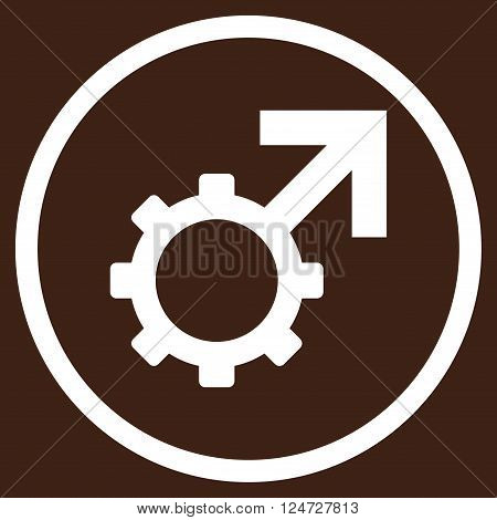 Technological Potence vector icon. Image style is a flat icon symbol inside a circle, white color, brown background.