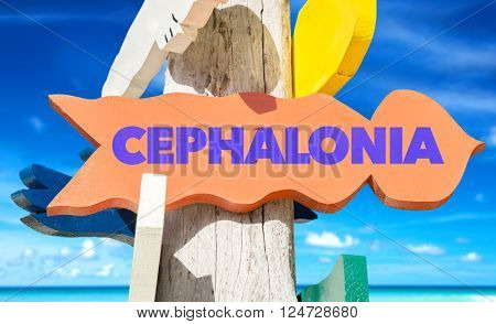 Cephalonia signpost with beach background