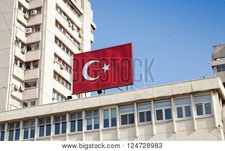 Banner With National Flag Of Turkey