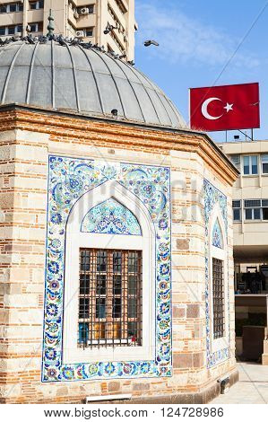 Ancient Camii Mosque And Turkish Flag