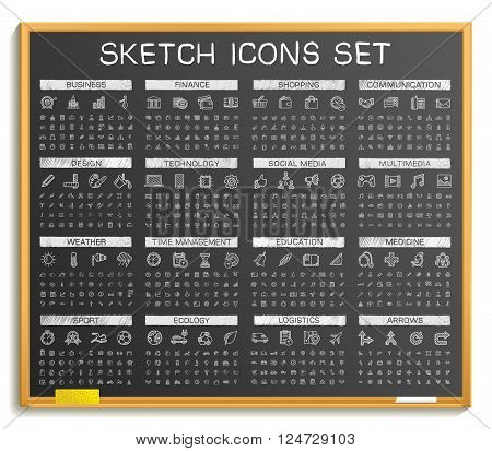 Hand drawing line icons. Vector doodle pictogram set, chalk sketch sign illustration on blackboard. Web, app, mobile, business and finance, technology, time, medical, education,  sport and transport
