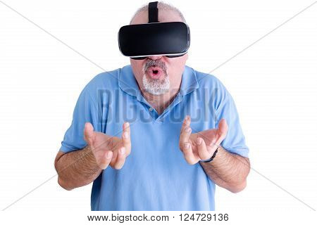 Man Reacts To Wearing Virtual Reality Glasses