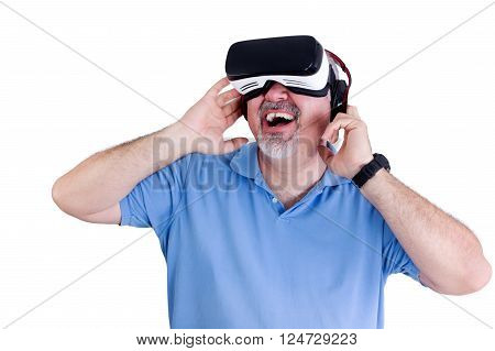 Laughing Man With Virtual Reality Glasses