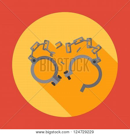 Old shackles. broken chain. Vector flat design