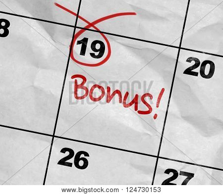 Concept image of a Calendar with the text: Bonus