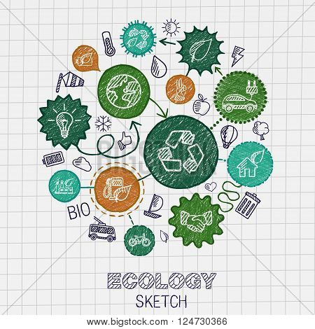 Ecology hand drawing integrated icons. Vector doodle connected pictogram set. sketch interaction illustration on paper. eco friendly, energy, environment, green, recycle, bio and global concepts