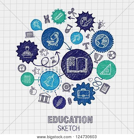 Education hand drawing connected icons. Vector doodle interactive pictogram set. sketch concept illustration on paper. For elearning, knowledge, learn, analytics, network, science, social media.