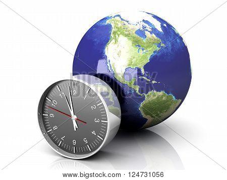 A World time. A 3D rendered Illustration.