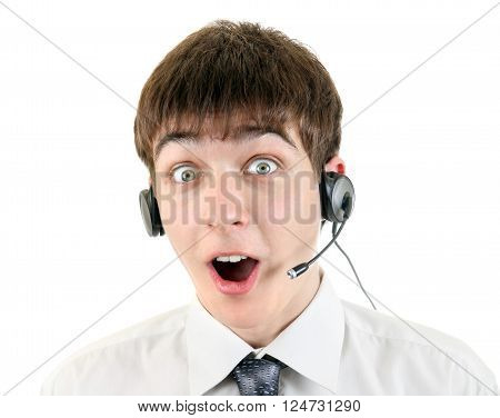 Surprised Teenager with Headset Isolated on the White Background