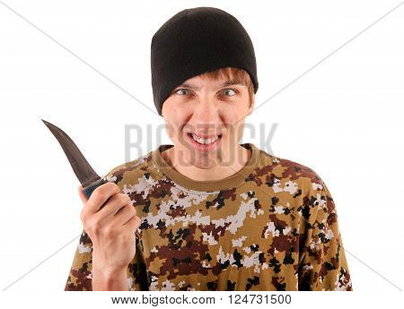 Young Gangster with a Knife Isolated on the White Background