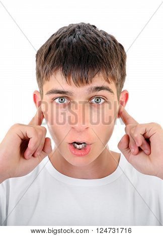Surprised Teenager Close his Ears with a Fingers Isolated on the White Background